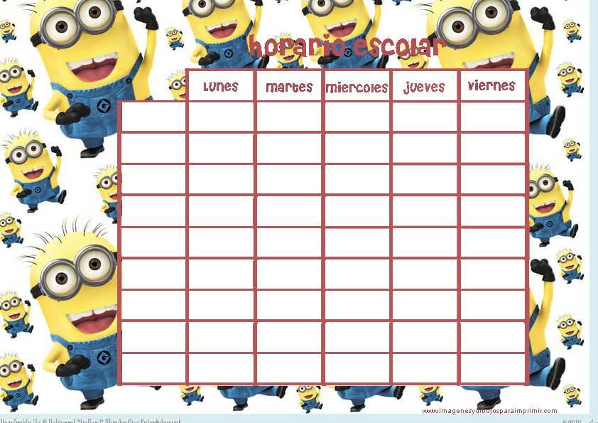Imprimir horarios escolares de minions - Marcos para laminas grandes ...