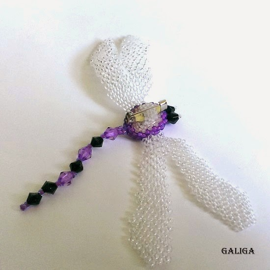 dragonfly brooch with beads