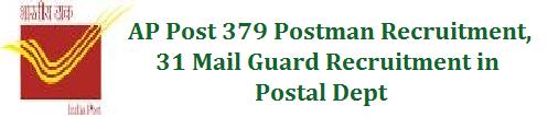 AP Post 379 Postman Recruitment, 31 Mail Guard Recruitment in Postal Dept