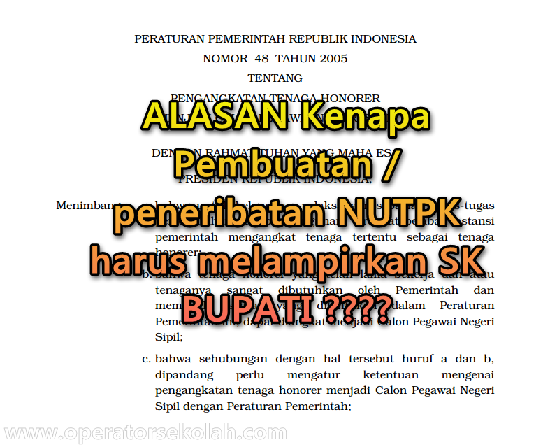 Alasan Syarat Penerbitan NUPTK Baru Harus ada SK BUPATI