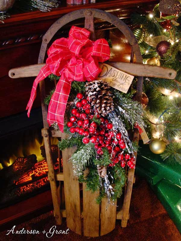 Decorating a vintage sled for christmas anderson grant for Antique sled christmas decoration