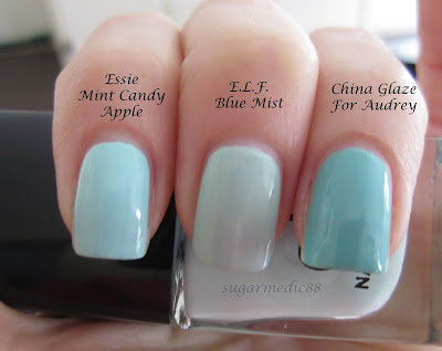 ELF Blue Mist Comparison Essie Mint Candy Apple China Glaze For Audrey