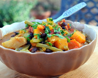 Slow Cooker Curried Vegetable Stew, a spiced vegetable stew, your choice of vegetables. Vegan, paleo, very Weight Watchers friendly!