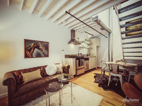 Interior loft peque o lleno de encanto industrial - Loft pequeno ...