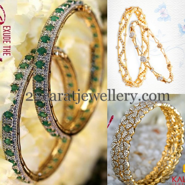 Thin Diamond Bangles with Emeralds