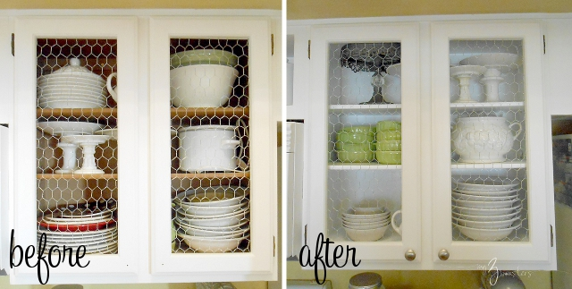 DIY chicken wire kitchen cabinets at my3monsters.com