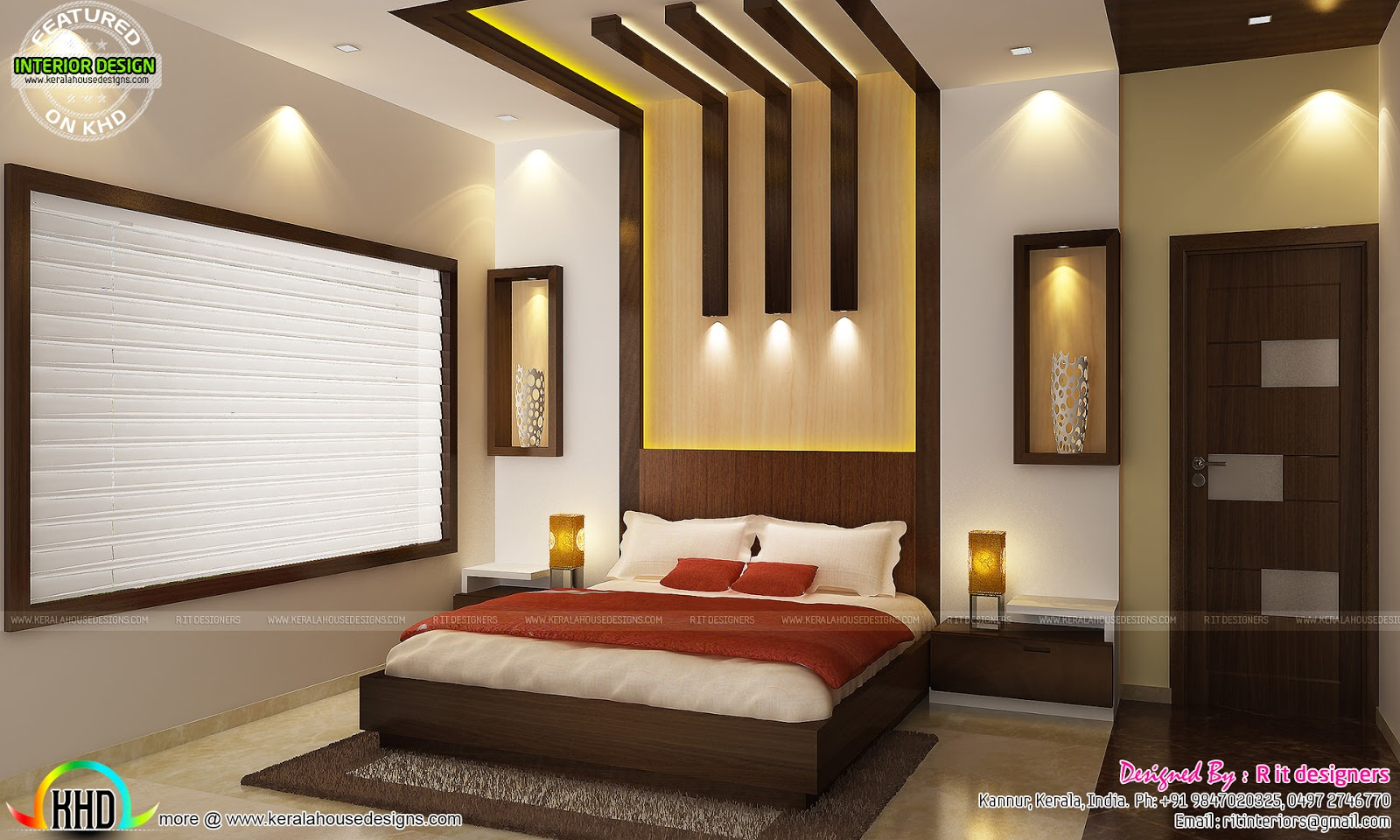 Kitchen living bedroom dining interior decor kerala for Bed interior design picture