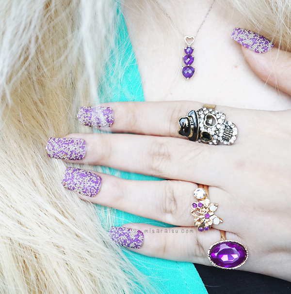purple vintage gold skull ring nail art