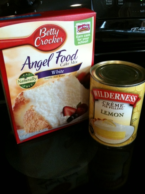 Here's the ingredients..Lemon Pie Filling and Angel Food Cake Mix..