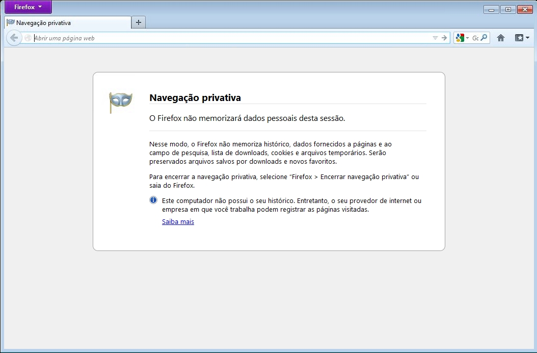 Firefox - Modo anônimo