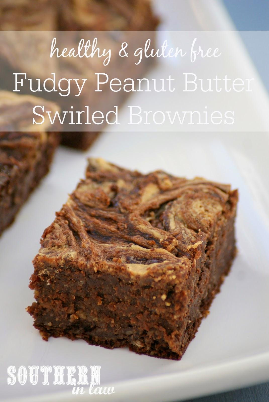 Low Fat Fudgy Peanut Butter Swirled Brownies - low fat, gluten free, healthy, freezer friendly
