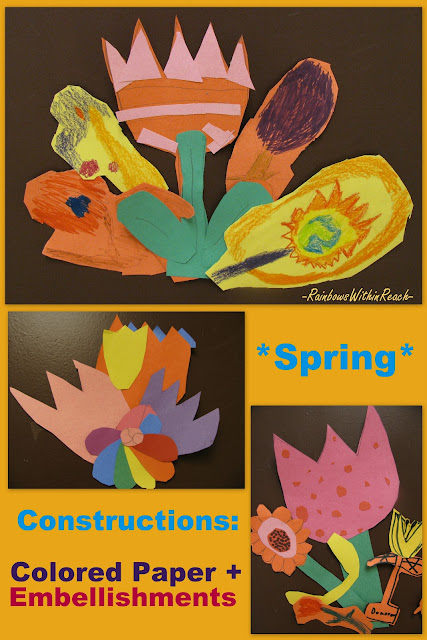 spring flowers, children's art, bright colors, construction, collage