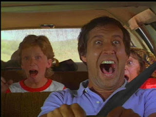 Chevy Chase Vacation yelling at family in car station wagon screaming intense
