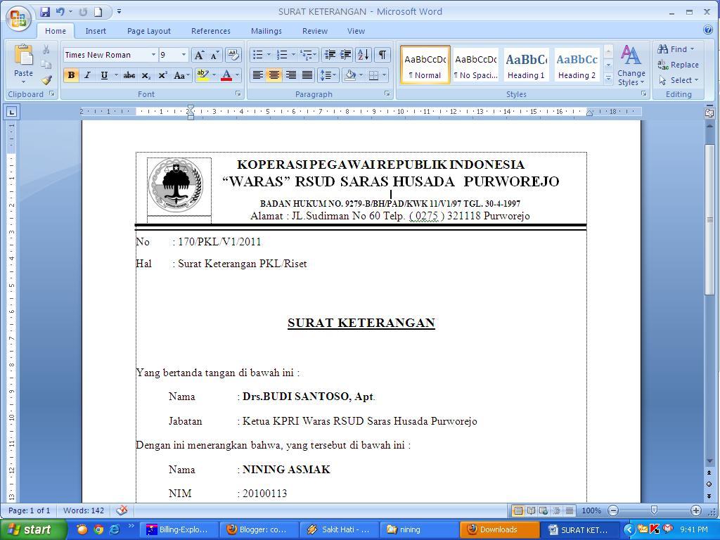 Contoh Surat Keterangan PKL/Riset