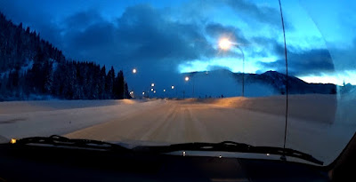 Dashcam shot of snow covered Coquihalla summit pass