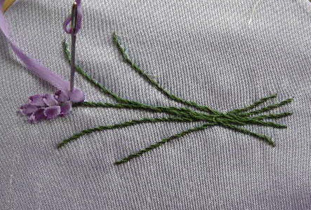 Silk Ribbon Embroidery Lavender In Silk Ribbon