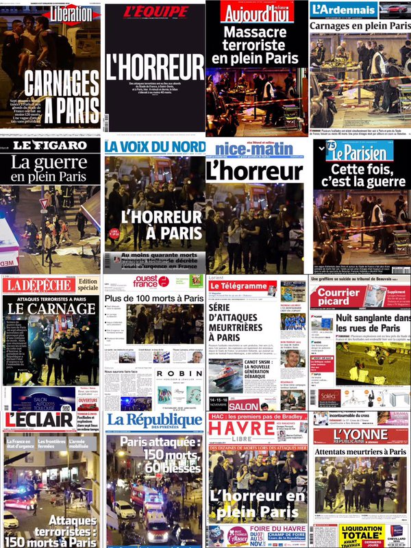 The front pages from across France #Paris