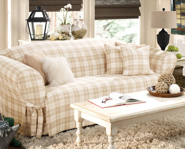 classy brown and white sofa slip covers with square white table and soft rug