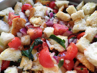 Panzanella, the Tuscan bread salad (from leftover bread)
