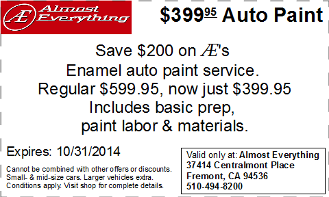Coupon $399.95 Car Paint Sale October 2014