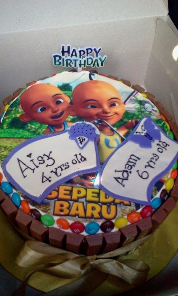 RED VELVET CAKE WITH KIT KAT AND EDIBLE IMAGE UPIN IPIN