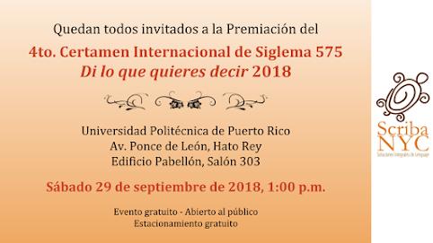 """PREMIACIÓN DEL 4to. CERTAMEN INTERNACIONAL DE SIGLEMA 575 """"DI LO QUE QUIERES DECIR"""" 2018"""