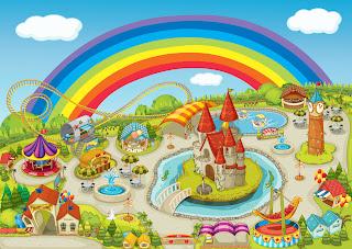 Paisaje de parque de atracciones de feria con arcoiris