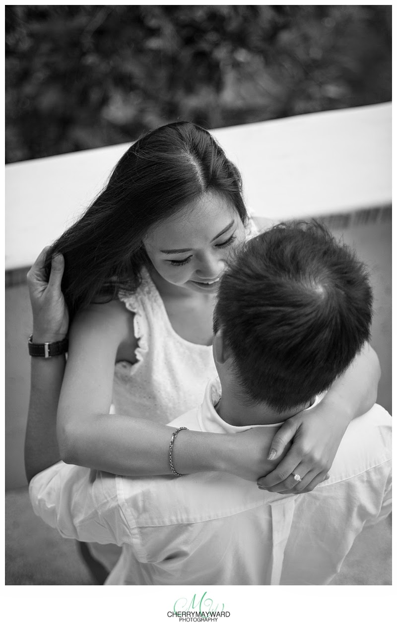 couple in love, beautiful couple photos, playing with her hair, Koh Samui engagement