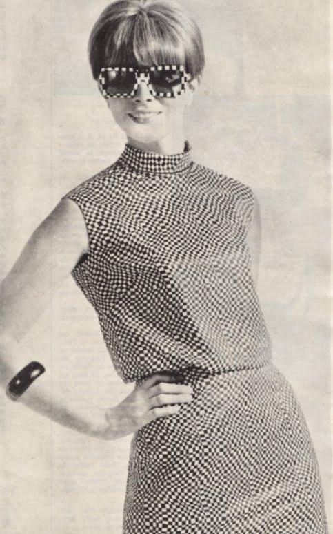 Op' Art 1966 shirt blouse skirt glasses 60s 1960 mod black white Optical