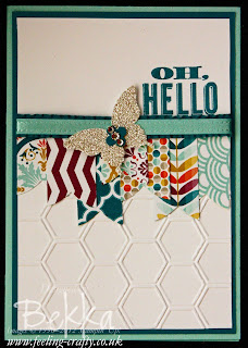 Oh Hello and Welcome to the Stampin' Superstars - Cards Sent by Stampin' Up! Demonstrator Bekka Prideaux to new team members.  Find Out more here.  The card features the free Sale-a-Bration Sycamore Street papers and ribbons as well as the Oh Hello Stamp Set and Honeycomb Embossing Folder