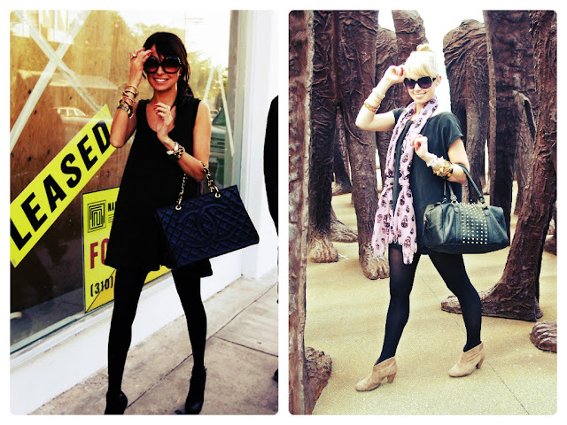 Nicole Richie, celebrity style, celebrity style steal, all black, monochrome, big sunglasses, mini dress with tights