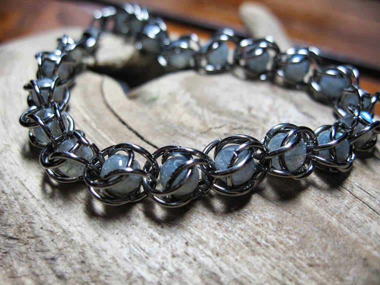 captured chain maille labradorite beads
