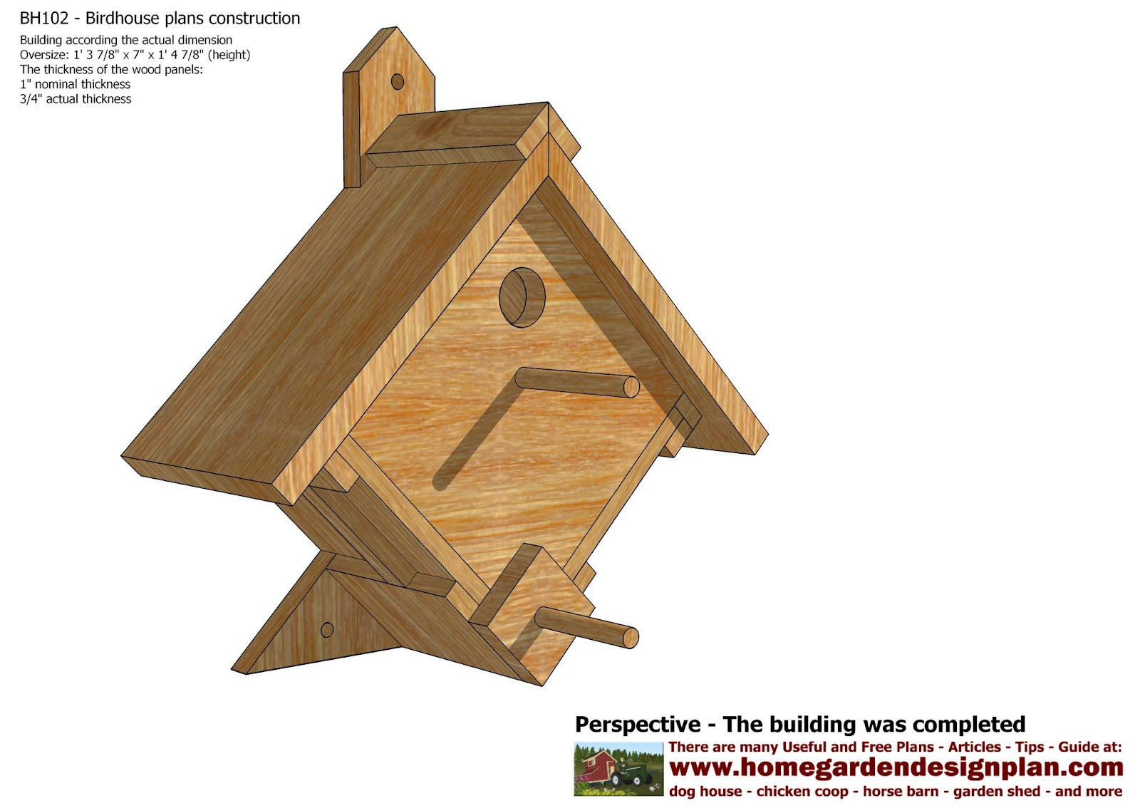 home garden plans: bh102 - bird house plans construction - bird
