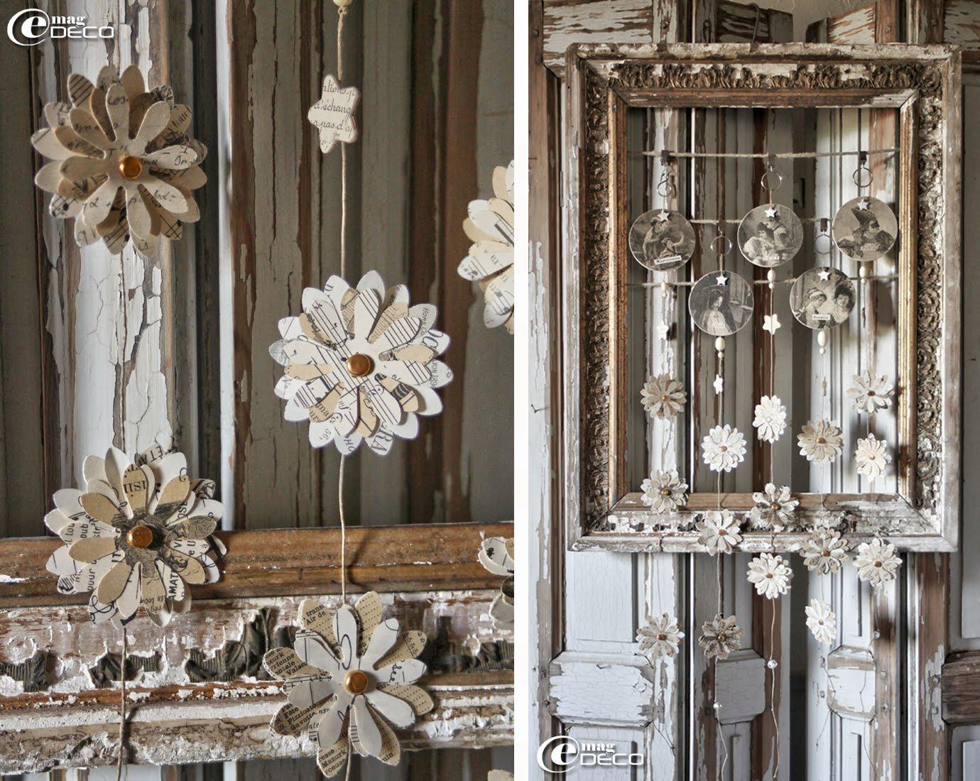 Composition dans un vieux cadre de miroir défraichi de cinq Guirlandes Sylvestre, créations Ciel d'Orage