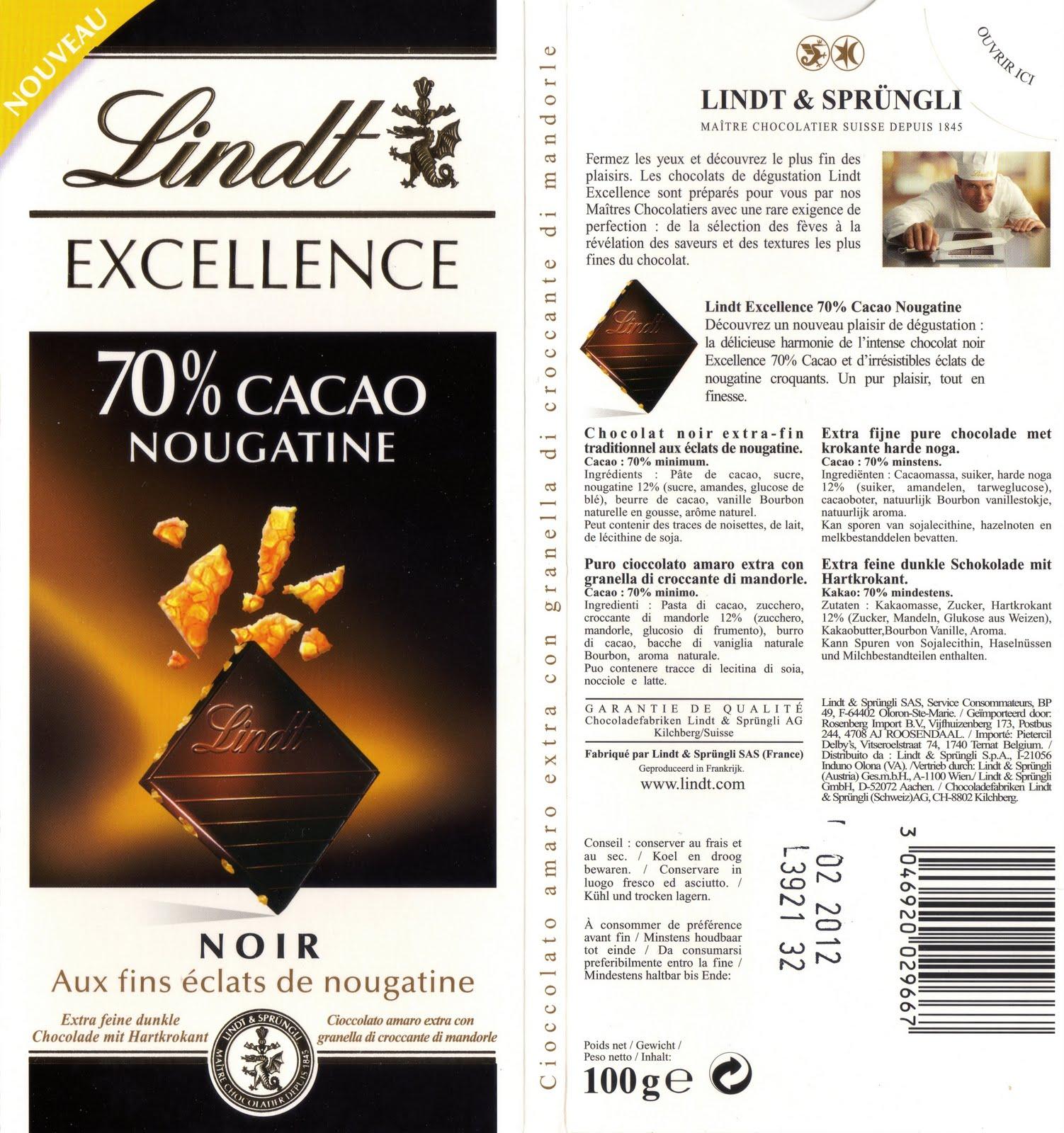 lindt excellence nougatine 70 tablette de choc. Black Bedroom Furniture Sets. Home Design Ideas