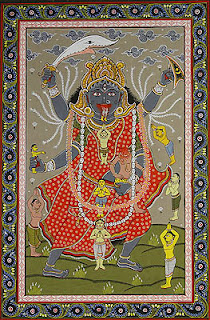 Bhadrakali, the ferocious killer goddess Madhubani painting from Bihar