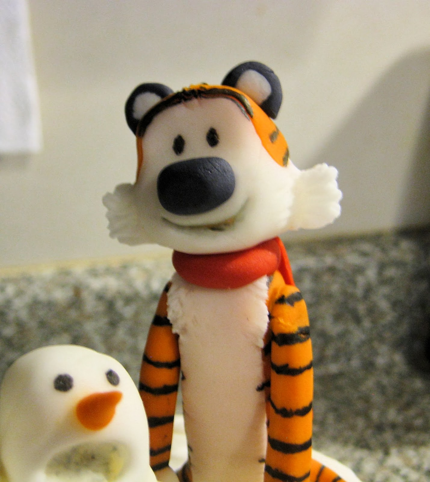 Calvin and Hobbes Snowmen Cake - Fondant Hobbes Close-Up