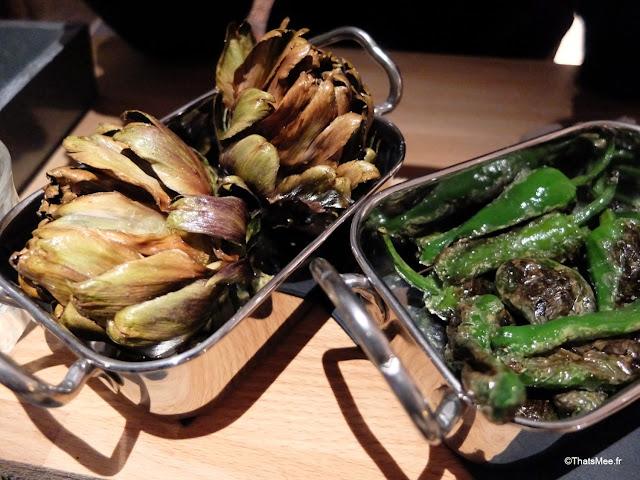tapas artichauts pimientos restaurant La Faille montorgueil Paris