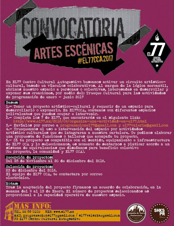 Convocatoria - Trueque Cultural EL77CCA : Artes Escénicas