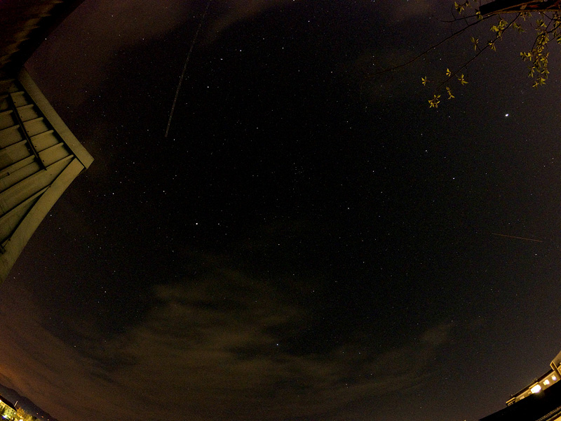 Lyrid meteor shower over Ljubljana on 22042015 long meteor from top