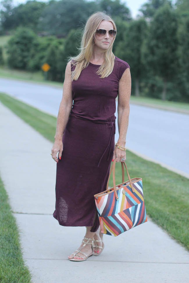 gap dress, tory burch handbag, kate spade gladiators, ray ban sunglasses