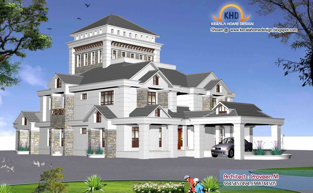 Indian style home 3d renderings kerala home design and for 3d house plans indian style