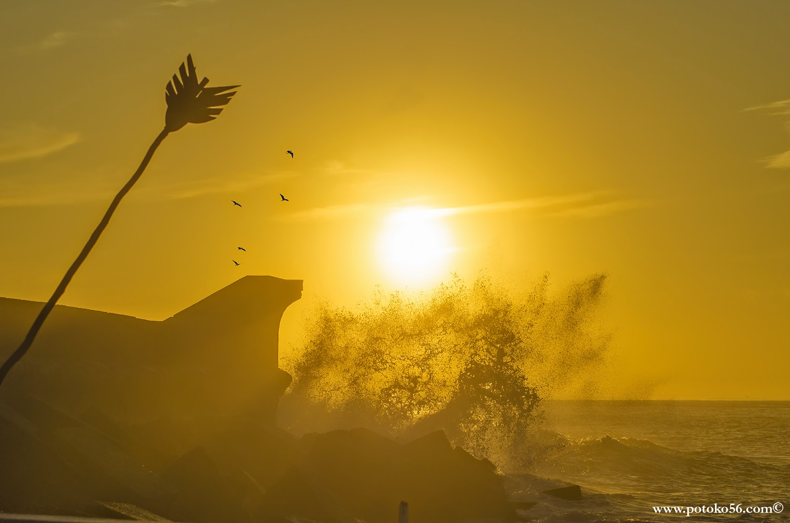 La fuerza del Mar enrabietado golpeando el Muelle de Rota