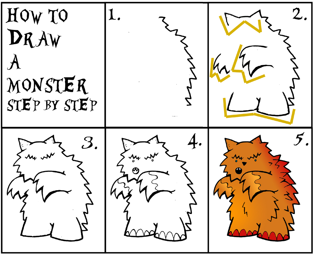 daryl hobson artwork how to draw a monster step by step