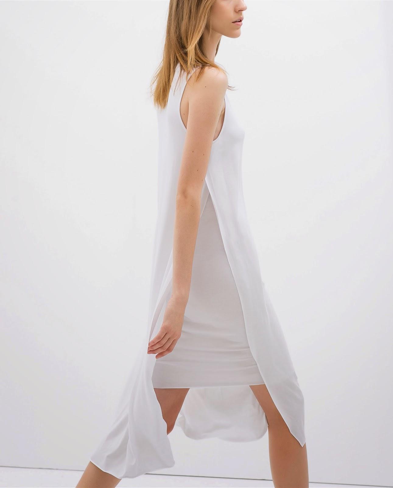zara white midi dress