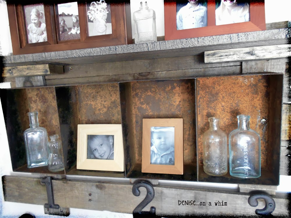rustic pallet wood and rusty metal are the perfect compliment foe each other via http://deniseonawhim.blogspot.com