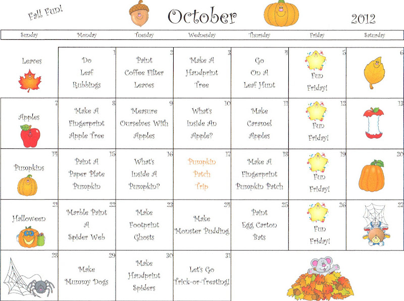 October Calendar Kindergarten : The thoughtful spot day care september
