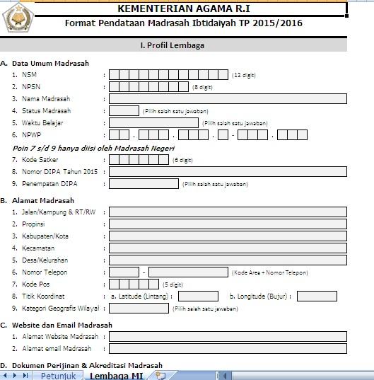 Formulir EMIS Semester Ganjil 2015/2016 Untuk RA, MI, MTs, MA, dan Pengawas