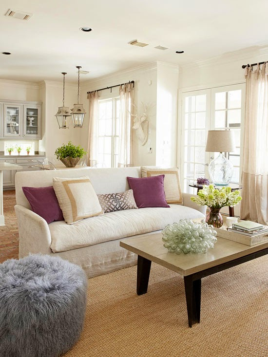 Sofa Facing Away From The Dining Room Defines Conversation Area