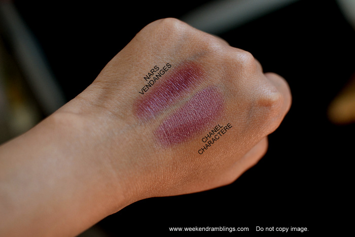 Les Essentiels de Chanel Rouge Coco Lipstick Charactere Fall 2012 Makeup Collection Beauty Blog Reviews Swatches FOTD Looks NARS Vendanges Comparisons